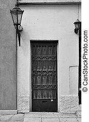 vecchio, porta, con, metallo, modello