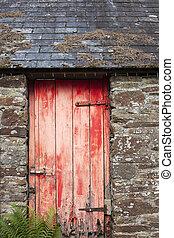 vecchio, porta, granaio rosso