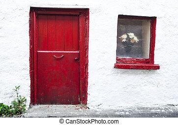 vecchio, porta, rosso