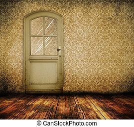vecchio, porta, stanza