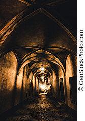 vecchio, prigione sotterranea, corridoio, misterioso