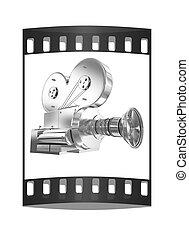 vecchio, render., macchina fotografica., striscia, film, 3d