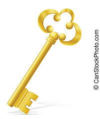 vecchio, retro, chiave, serratura porta, vettore,...