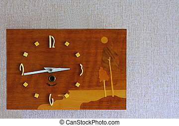 vecchio, retro, orologio, su, parete