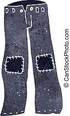 vecchio, ripristinato, jeans, cartone animato