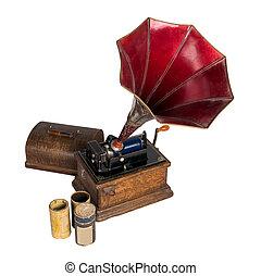 vecchio, ritagliare, tre, ritaglio, cilindro, fonografo, percorso, dischi