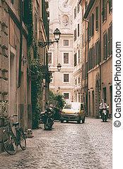 vecchio, roma, strada, giorno, estate
