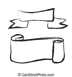 vecchio, rotolato, scarabocchiare, su, rotolo carta