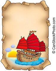 vecchio, rotolo, con, cinese, nave