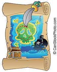 vecchio, rotolo, con, mappa pirata