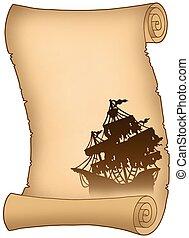 vecchio, rotolo, con, misterioso, nave, silhouette