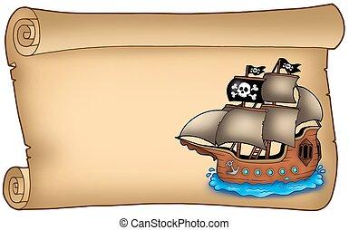 vecchio, rotolo, con, pirata, nave