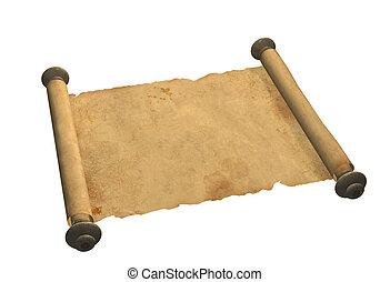 vecchio, rotolo, pergamena