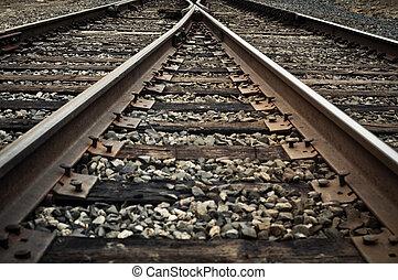 vecchio, rustico, pista ferrovia, scomposizione, corsie