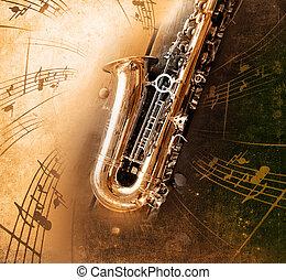 vecchio, sassofono, con, sporco, fondo