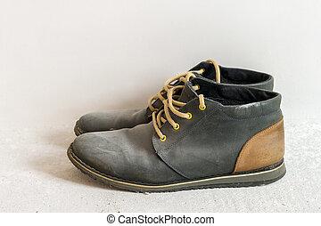 vecchio, scarpe, polveroso, portato, sporco, fuori