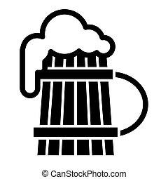 vecchio, schiuma, birra, disegno, glyph, web, stile, app., isolato, tazza, pinta, 10., schiuma, illustrazione, vetro, disegnato, solido, eps, legno, vettore, icon., white.