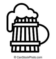 vecchio, schiuma, birra, disegno, web, stile, isolato, tazza, pinta, 10., schiuma, illustrazione, vetro, white., linea, contorno, legno, eps, app., vettore, icon., disegnato
