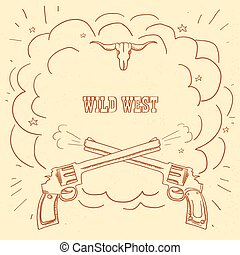 vecchio, scoppio, ovest, illustrazione spaziale, cowboy, fondo., occidentale, testo, selvatico, pistole