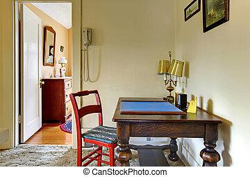 vecchio, scrivania, in, corridoio, inglese, charmant, house.