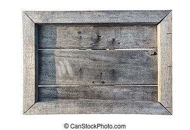 vecchio, scudo, legno, isolato, (menu, bianco, board)
