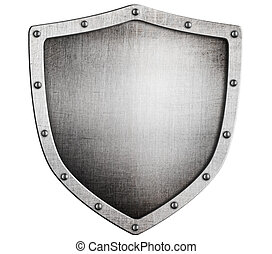 vecchio, scudo, metallo, isolato, bianco, medievale