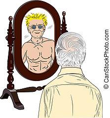 vecchio, se stesso, vede, giovane