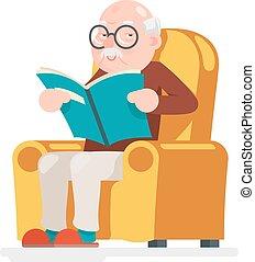 vecchio, sedere, carattere, illustrazione, vettore, disegno, adulto, lettura uomo, cartone animato, icona