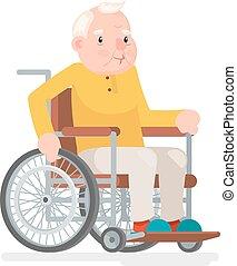 vecchio, sedere, carrozzella, carattere, illustrazione, vettore, disegno, adulto, uomo, cartone animato, icona