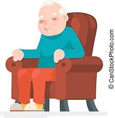 vecchio, sedere, poltrona, carattere, illustrazione, vettore, sonno, adulto, disegno, uomo, cartone animato, icona