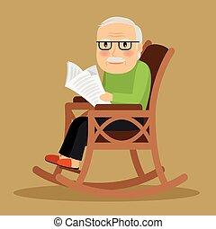 vecchio, seduta, giornale, sedia dondolo, uomo