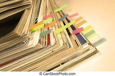 vecchio, sepia-style, scuro, pubblicazione periodica, foto, ...