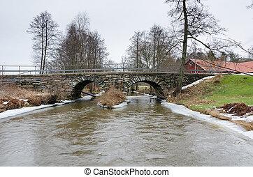 vecchio, sopra, acqua, svezia, freddo, stonebridge