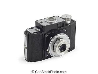 vecchio, sopra, isolato, macchina fotografica, bianco,...