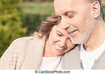 vecchio, spendere, coppia, sposato, insieme, allegro, tempo