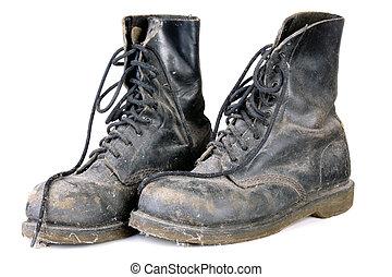 vecchio, sporco, stivali