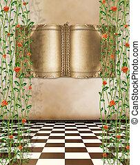 vecchio, stanza, con, antico, oro, libro, su, il, grunge, parete