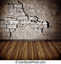 vecchio, stanza, parete, mattone
