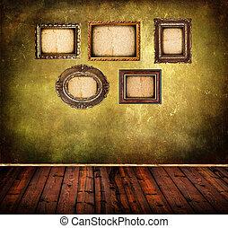 vecchio, stanza, parete, vendemmia, cornici, grunge