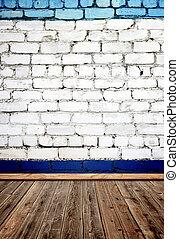 vecchio, stanza, pavimento, parete, legno, mattone
