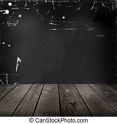 vecchio, stanza, pavimento, parete, legno, nero
