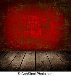 vecchio, stanza, pavimento, parete, legno, rosso