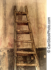 vecchio, stanza, scala, dilapidato, sepia, walls., sporco