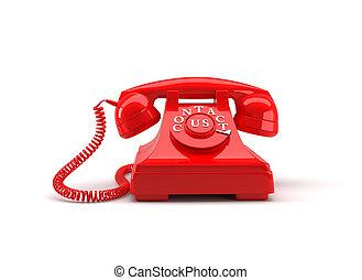 vecchio stile, telefono, con, contattarci, words., 3d, rendering.
