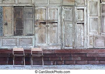 vecchio, struttura legno, parete, fondo, sedia