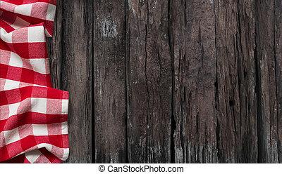 vecchio, tavola, con, tovaglia rossa, vista superiore