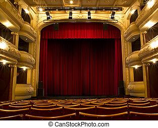 vecchio, teatro, palcoscenico, e, tenda rossa