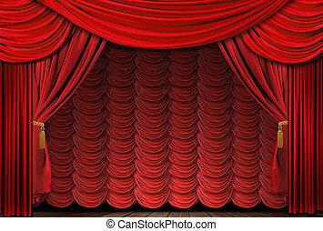 vecchio, tendaggio, elegante, teatro, foggiato, rosso, palcoscenico