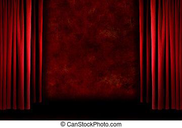 vecchio, tendaggio, foggiato, grungy, rosso, palcoscenico