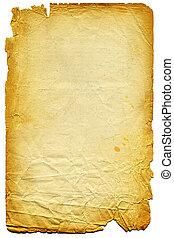 vecchio, textured, carta, con, stracciato, edge., su, white.